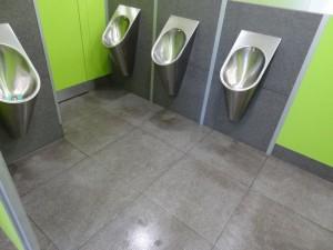ZOO toalety dlažba před odstraněním močového kamene